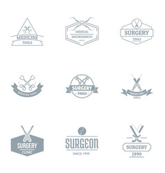 Surgical process logo set simple style vector