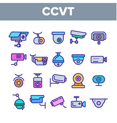 surveillance cameras cctv linear icons set vector image