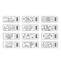 tickets set with barcode for nature travel tours vector image