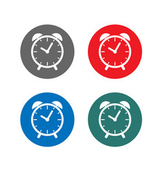 time sign alarm clock icon set vector image