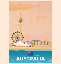 Travel poster to australia flat vector