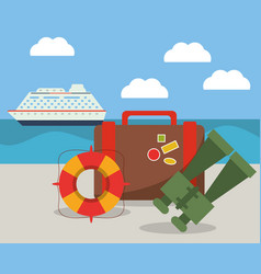 Vacations ship suitcase binoculars and lifebuoy vector