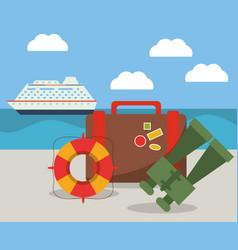 vacations ship suitcase binoculars and lifebuoy vector image