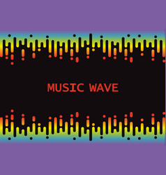 Wave 3d rainbow pulse music player on black vector