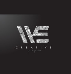 We w e letter logo with zebra lines texture vector