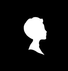 White profile silhouette of young boy or man head vector