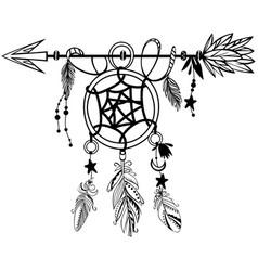 wooden arrow with dreamcatcher vector image