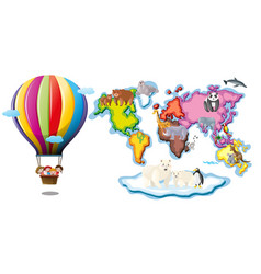 Worldmap with animals and balloon riding vector
