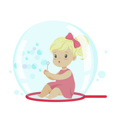 adorable little girl blowing bubbles while sitting vector image vector image