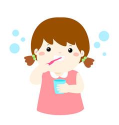 happy girl brushing teeth cartoon vector image vector image