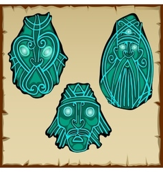Set of three figures carved from stone vector image vector image