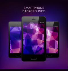 black mobile phone with triangular background vector image vector image