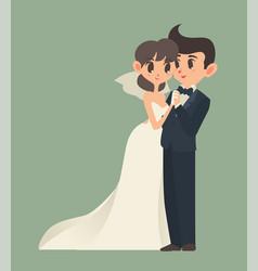 bride and groom cartoon character vector image