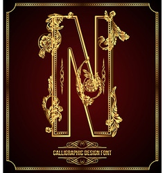 Calligraphic font Letter N vector image
