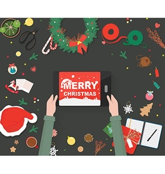 Christmas decorationsPreparing for Christmas card vector image vector image