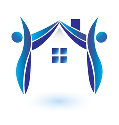House and figures logo vector image vector image