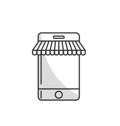 line technology smartphone to business information vector image vector image