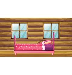 Pink bed in wooden room vector image vector image