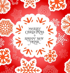 Red Christmas greeting card with snowflakes vector image vector image