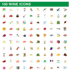 100 wine icons set cartoon style vector image vector image