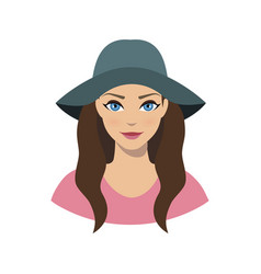 avatar icon of girl in a wide brim felt hat vector image vector image