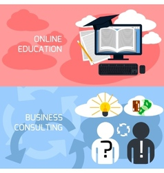 Concept of online education business consulting vector image