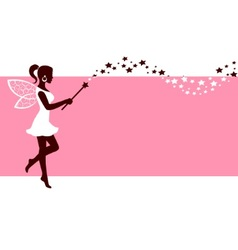 Silhouette of fairy with magic wand vector image vector image