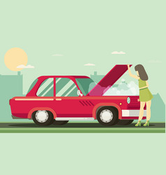 the girl is looking at broken motor flat vector image