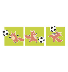 cute fox animal mascot with soccer ball vector image vector image