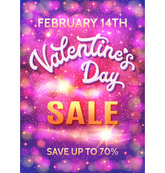 Valentines day sale poster on abstract background vector