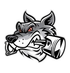 Wolf bite the piston vector