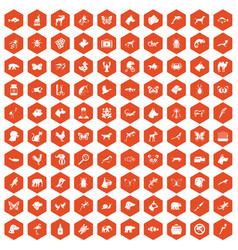 100 animals icons hexagon orange vector