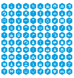 100 happy childhood icons set blue vector