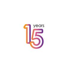 15 years anniversary color full elegant vector