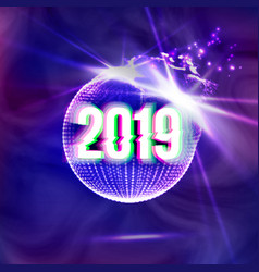 2019 happy new year disco background vector image
