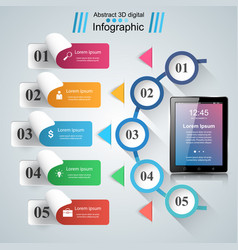 3d infographic tablet icon vector image