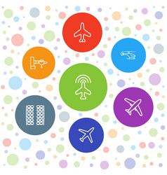 7 airline icons vector