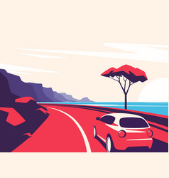 a red car moving along the vector image