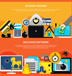 account hacking horizontal banners vector image