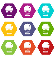 aerostat balloon icon set color hexahedron vector image