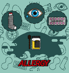 Allergy flat concept icons vector