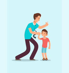angry father yells at upset scared child family vector image