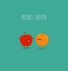 apple and orange friends forever vector image