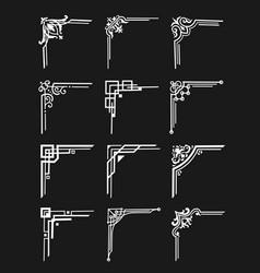 art deco border corners ornamental dividers vector image
