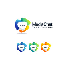 awesome media chat logo design vector image