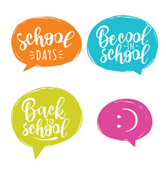 back to school lettering set for banner design vector image
