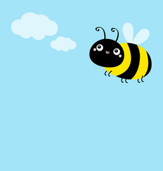 Bee icon white clouds flying insect collection vector