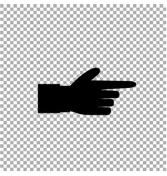 Black icon silhouette of pointing aside finger vector