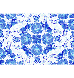 blue painted flowers on white background in vector image