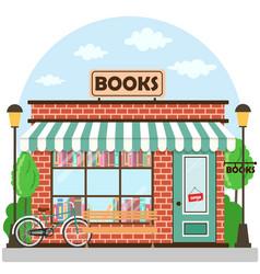 Bookshop bookstore building facade a row books vector